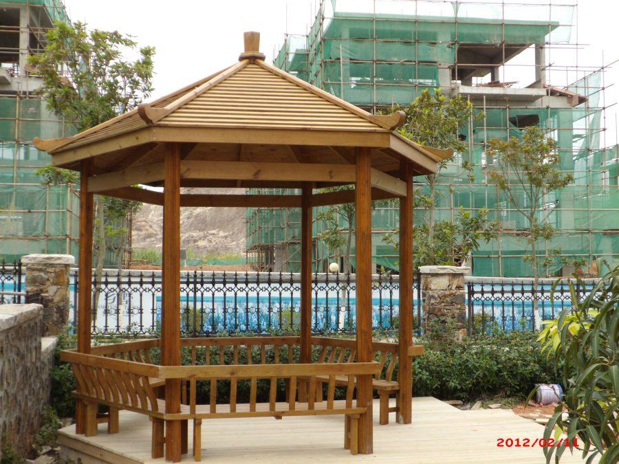 六角亭子-防腐木凉亭-深圳市联点空间景观有限公司